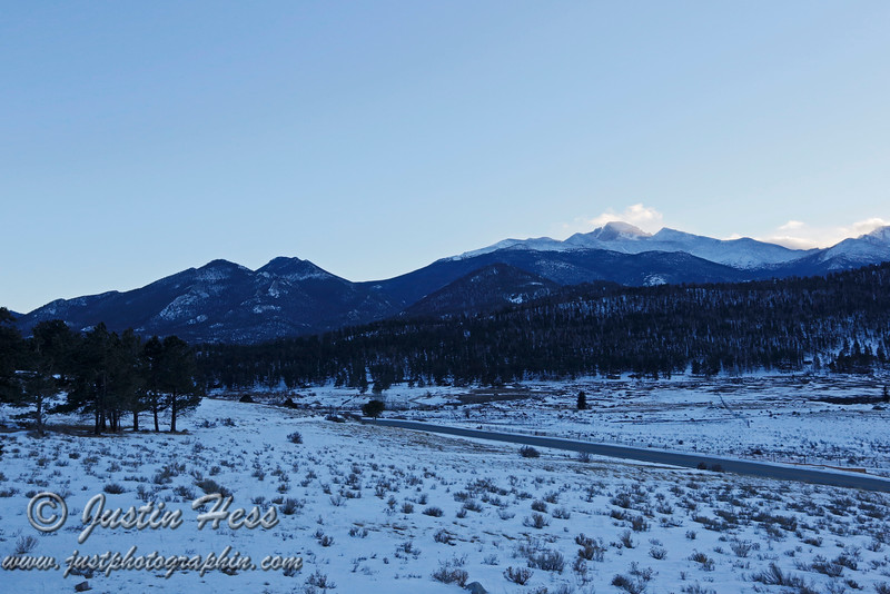 The view from the Moraine Park Visitor Center.  Longs Peak capped by a cloud.