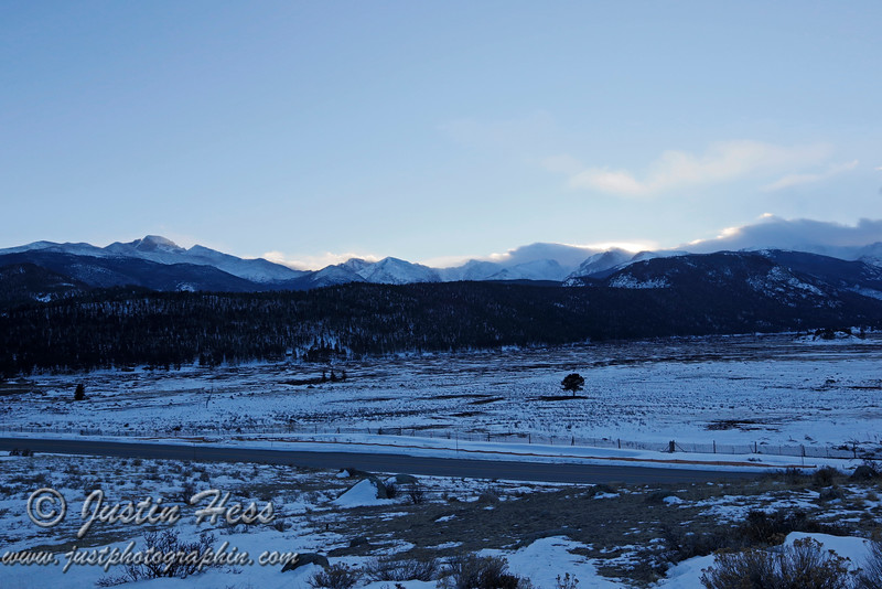 Moraine Park and the Continental Divide just after sunset.