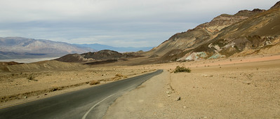 Through multicoloured mountains inside Death Valley