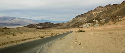 Through multicoloured mountains inside Death Valley