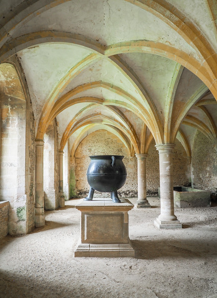 The 500 year old cauldron in the Warming Room.