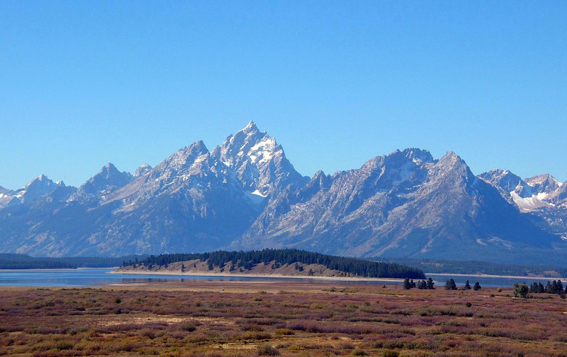 An October view of Willow Flats and the Grand Teton from Jackson Lodge, Grand Teton National Park, Wyoming