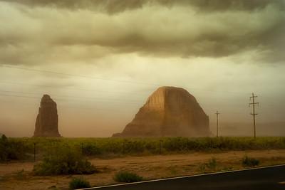 Sand Storm approaching Whale Rock near Rock Point. Arizona.