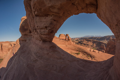 Delicate Arch seen by another Arch. Arches National Park. Utah.