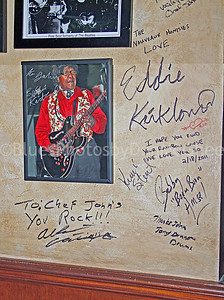 Autographed photo of Eddie Kirkland on wall near Eddie's signature, at Chef John's in Jupiter FL -- the next to last place Eddie played [2/18/11] before his passing.