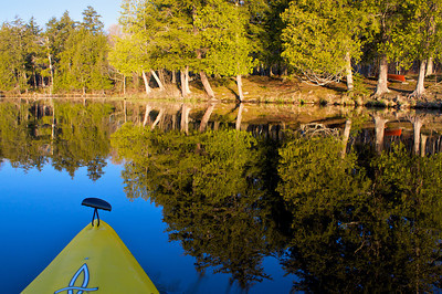 In the kayak at sunrise on East Twin Lake.