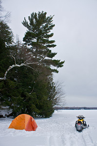 It was windy wen I got out on the ice so I found this island and used it as a wind break.
