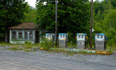 Is this the gas station of the future?  Obsolete, ignored, overgrown, fallow?   ©Gerald Diamond All rights reserved