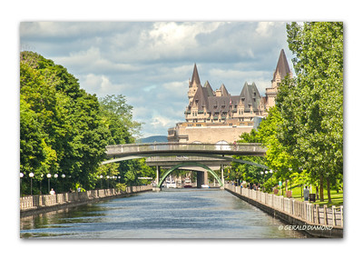 Rideau Canal and Chateau Laurier Hotel, Ottawa, 2013  ©Gerald Diamond All rights reserved