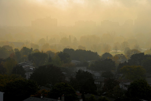 Autumn Morning Mist, Rising Sun - Toronto, Canada  ©Gerald Diamond All Rights Reserved