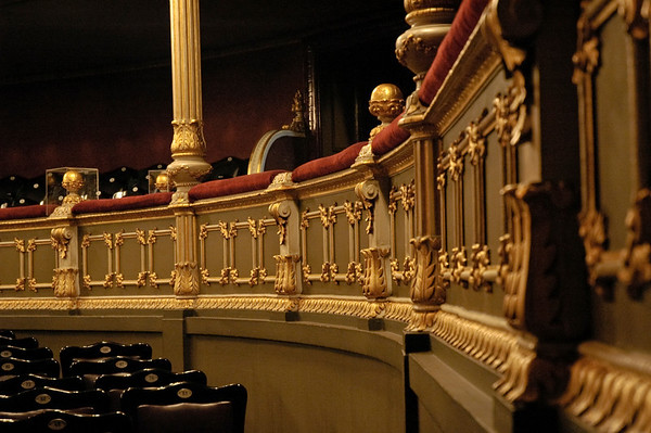 This is the wrap-around first balcony of the posh Teatro Nacional in San Jose, Costa Rica's capital.  ©Gerald Diamond All rights reserved