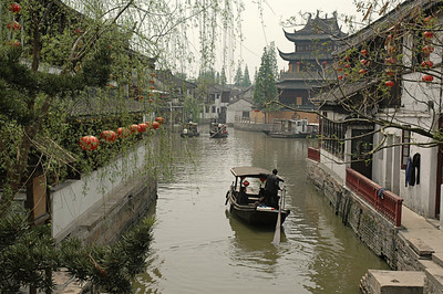 Canal of Zhujiaojiao, Southern China  ©Gerald Diamond All Rights Reserved