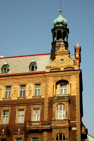 Many of Prague's older buildings in the Old Town section are quite stately and architected with fine proud lines.  ©Gerald Diamond All rights reserved