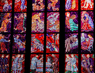 Prague's many old churches possess gloriously rich stained glass.  ©Gerald Diamond All rights reserved