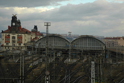 This is the Prague Main Railway Station also called Woodrow Wilson Train Station.  It was named after the American President who, along with Czech's Tomas Masaryck, pledged mutual cooperation and partnership in 1918 when the modern state of Czecholsovakia was declared informally by Masaryck in Washington, DC.  ©Gerald Diamond All rights reserved