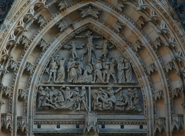 Gothic doorway architecture of St. Vitus Cathedral lends itself to wonderful story-telling in scultpure.  ©Gerald Diamond All rights reserved