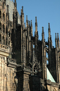 Flying Buttresses and Pinnacles.  St. Vitus Cathedral dates back to 1344 and contains the tombs of many Bohemian kings.  ©Gerald Diamond All rights reserved