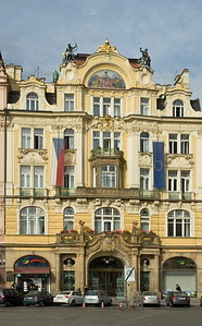 Prague: Ornate facade of Czech government building (see Czech flag across from Europoean Union flag) on Old Town Square  ©Gerald Diamond All rights reserved
