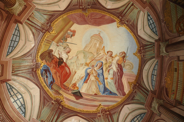 Trompe L'Oeil: Prague's many ceilings have extraordinary frescos but this one is especially intriguing since all of what you see here is on a flat ceiling.  ©Gerald Diamond All rights reserved