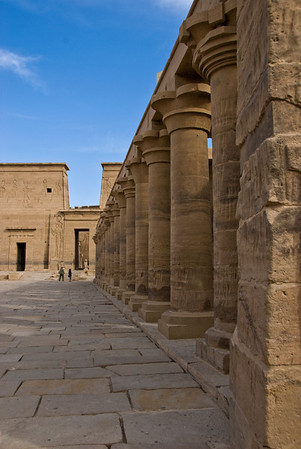 A colonnade at the Temple of Philae on an sialnd in the Nile River.  ©Gerald Diamond All rights reserved