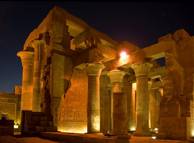 As the sun set the lights came on affording a spectacular view of the Temple of Kom Ombo overlooking the Nile River between Aswan and Luxor.  ©Gerald Diamond All rights reserved