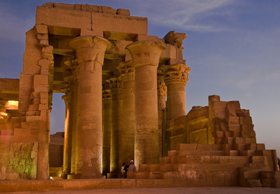 Kom Ombo Temple on the shores of the Nile River at dusk.  ©Gerald Diamond All rights reserved