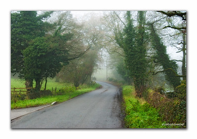 Rowsley, Derbyshire country lane on a foggy, cool November morning  ©Gerald Diamond All rights reserved