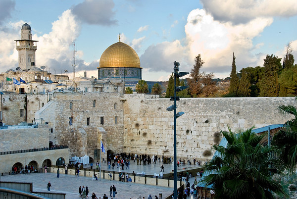 Old City of Jerusalem's Western Wall and the Dome of the Rock  ©Gerald Diamond All rights reserved