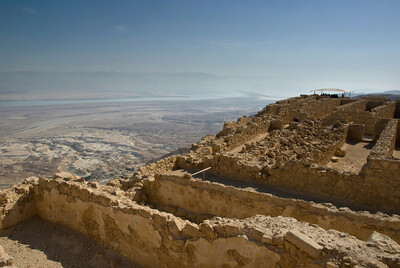 Masada ruins stand atop the mountain as though in continued silent defiance of all comers.  ©Gerald Diamond All rights reserved