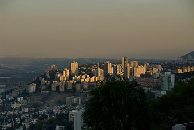 Haifa's hills formed around Mt. Carmel at sundown.  ©Gerald Diamond All rights reserved