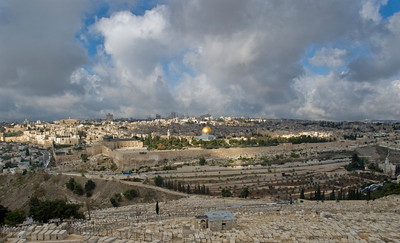 Wide View Of The Walls Of The Old City Of Jerusalem, Israel  ©Gerald Diamond All rights reserved