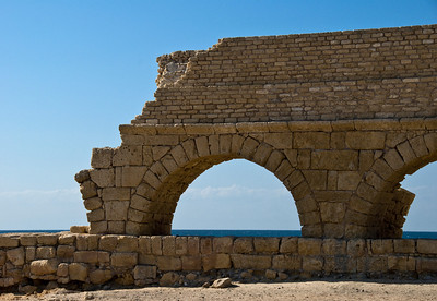 End Of The Road - Here the old Roman Aqueduct of Caeserea erodes as it angles toward the Sea.  Here it has stood for nearly 2,000 years.  ©Gerald Diamond All rights reserved