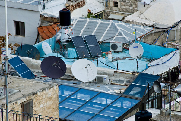 Rooftop Techno-Jumble In One Of The Oldest Cities In The World - Old City Of Jerusalem  ©Gerald Diamond All rights reserved