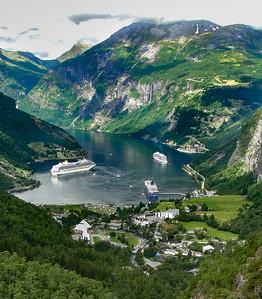 Ships at Geiranger Fjord