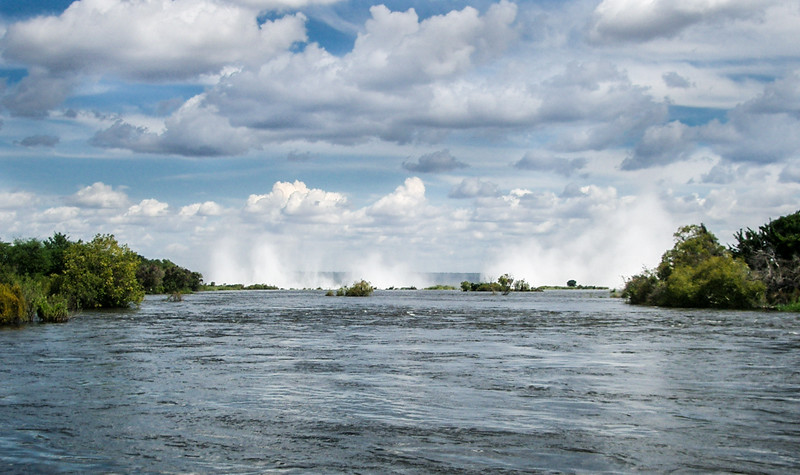 The Zambesi River Running To The Brink Of Victoria Falls, Zambia