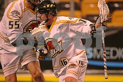 Matt Brown drives against teammate David Morgan during the shootaround  LP-09-141-07 copy