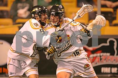 Matt Brown drives against teammate Matt Yager during the shootaround  LP-09-142-08 copy