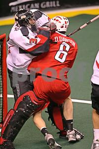 Dan Dawson collides with goal Matt Roik drawing an interference call.  Dan Dawson interference 6:07-1st  LP-09-484-07 copy