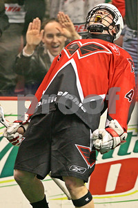 Philadelphia's Geoff Snider celebrates his 2nd goal of the game with a little over 1 minute left that iced the Wings victory over the visiting Colorado Mammoth.  LP-09-750-33-vertcrop copy