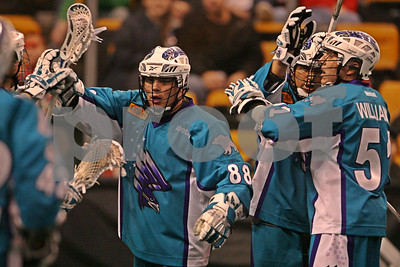 Rochester Knighthawks celebrate goal - Shawn Williams, Cody Jamieson  LP-11-0094-28-LRcrop copy