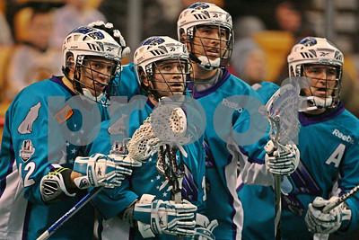 Rochester Knighthawks celebrate goal, Jarrett Davis, Shawn Evans, Joe Walters, Mike Accursi  LP-11-0094-09