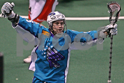 Rochester Knighthawks Shawn Evans celebrates his game winning goal against the Boston Blazers 48 seconds into overtime  LP-11-0123-19-LRcrop copy