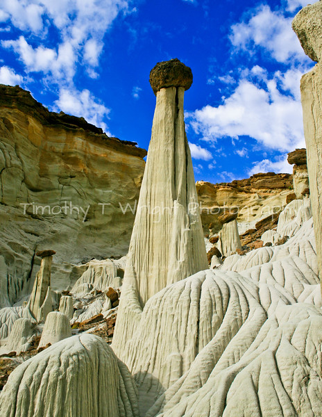 This area of the monument is called Wahweap Hoodos.  Just like Bryce Canyon, these formations of limestone have a cap rock on top that helps to protect the colum of limestone beneath.