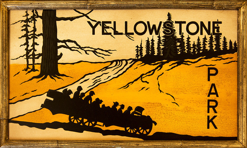 """Now, on to Yellowstone National Park. This painting depicts park travel in the """"old days."""""""