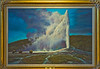 Painting of Old Faithful, in the Yellowstone Lodge dining room.