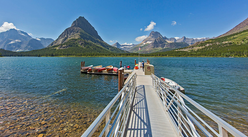 Swiftcurrent Lake adjacent to the Many Glacier Hotel, Glacier National Park.