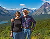 Mary and Richard at a view spot above Two Medicine lake.