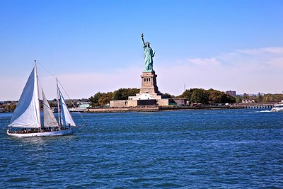 View of the Statue of Liberty from boat in New York Harbor