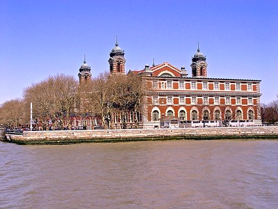 A view of Ellis Island from the Hudson River