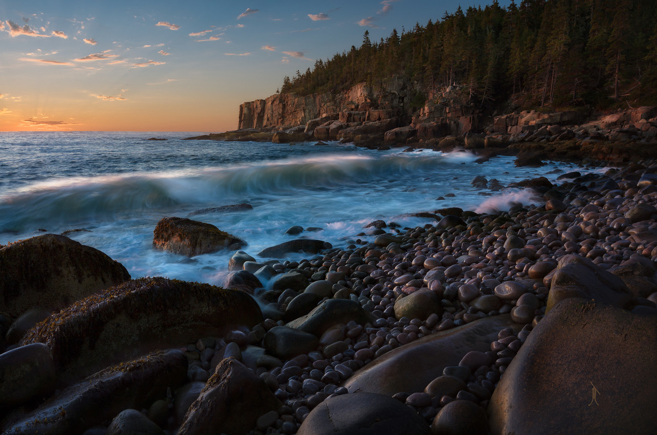 """At Acadia National Park right before Otter Cliff in a """"hidden"""" cove commonly known as Boulder Beach"""